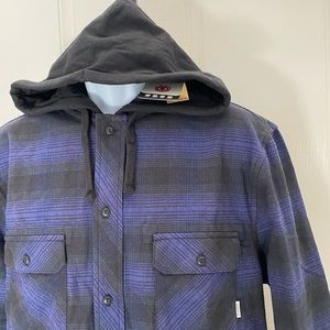 NWT-Men's ELEMENT Purple Plaid Hooded Flannel XL
